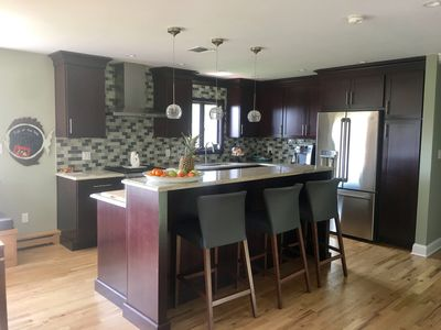 Open plan well equipped kitchen