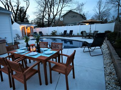 Photo for Brand New dog friendly  listing, with Inground pool,  hot tub, bikes, and kayaks