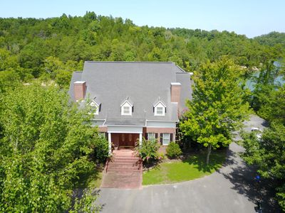 Aerial view of the front of the Lake House