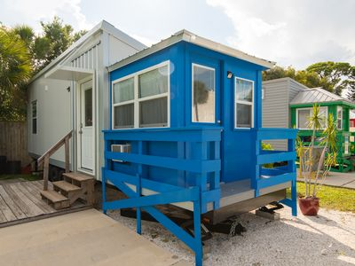 Tiny House Blue Lifeguard Stand located 3/4 of a mile from the beach in our Tiny House park!