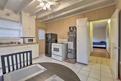 The studio has a spacious, fully equipped kitchen for preparing meals.