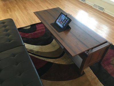 Our coffee table becomes a desk! You can get some work done...on your vacation!