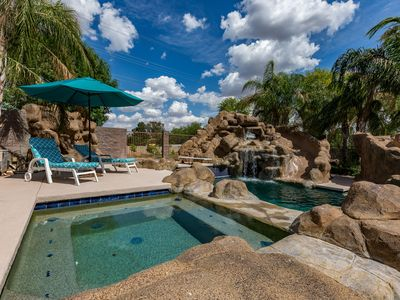 Photo for Mesa Family Fun Home  & Oasis  (Basement)- pool with slide, BBQ, playground, foosball, pool table