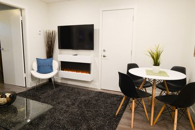 Electric fireplace and flat screen Smart TV
