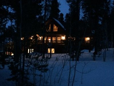 Photo for Magnificent custom Canadian log home with brand  hot tub...you won't want to lea