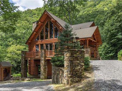 Photo for NEW LISTING! Luxury Log Cabin w/Great Mountain Views Minutes from Waynesville