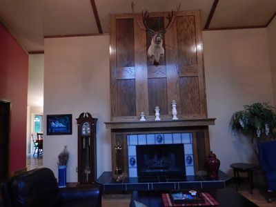 Living Room Fireplace with Caribou Mount