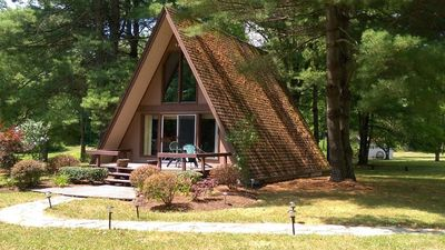 Photo for One bedroom A-frame overlooking beautiful Pine Creek (stocked)!