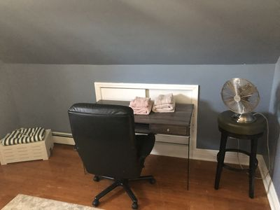 Desk and chair in bedroom