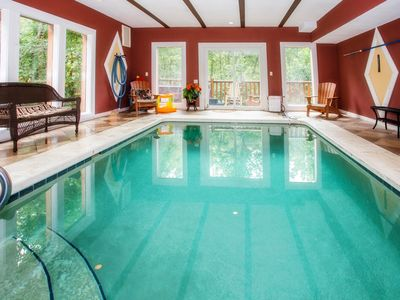 Photo for LARGE SECLUDED CABIN WITH HEATED INDOOR SWIMMING POOL, FIRE PIT,  AND THEATER .