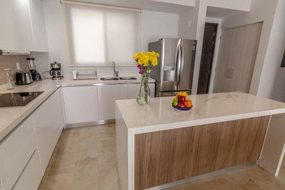 fully equipped modern electric kitchen with all appliances