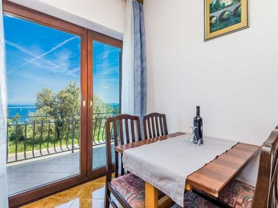 Photo for One bedroom apartment with terrace and sea view Kraj, Opatija (A-7724-a)