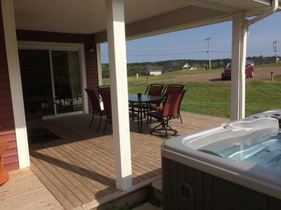 Private deck with Hot Tub Hot Tub open Mid May - end September