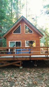 Photo for Cute cozy log cabin nestled in private wooded area between 2 sandy beaches