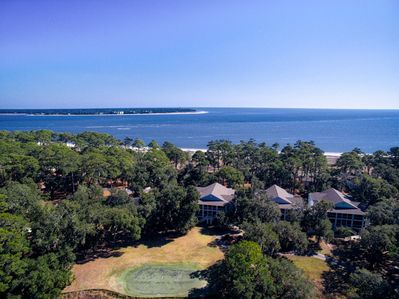 Bird's eye view of the Villa Building & the Atlantic ocean and beach just beyond