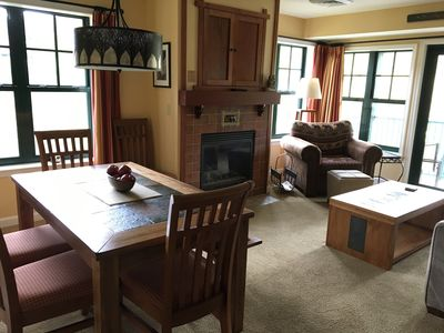 Combination Dining and Living Room with Gas Fireplace