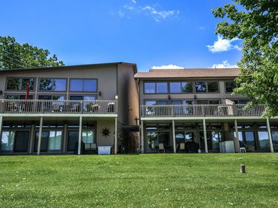 Grassy, level lakefront, amazing views & dock slip!