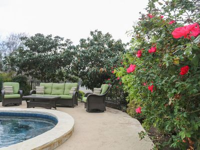 Photo for Absolutely Charming Sweet Romance, Hot tub and Pool Access, Walk to Main
