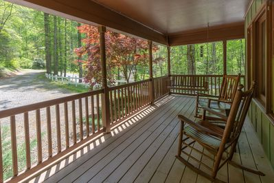 private road and front covered porch