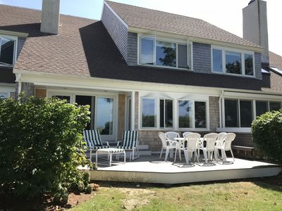 The house and back porch with views of Cape Cod Bay