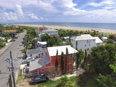 Aerial view of Coral House.  Condo Banana is the streetside unit.