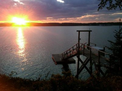 Spectacular sunsets from your private dock. We love doggies!