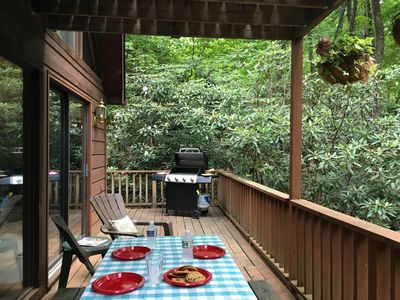 Glass doors open onto a large deck with a gas grill, picnic table, and chairs.