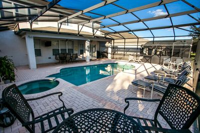 South Facing Pool with ample seeating