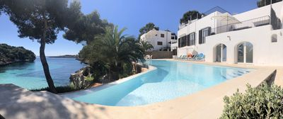 Panoramic Photograph from the villa, pool & sea.
