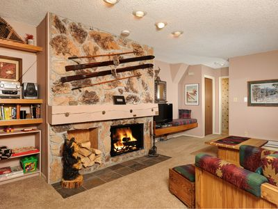 Photo for Spacious Mountain Holiday Condo with Private Balcony and Fireplace