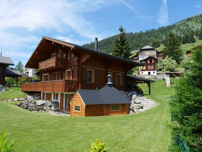 Photo for Superb Chalet with stunning mountain views,  large garden, close to ski lifts