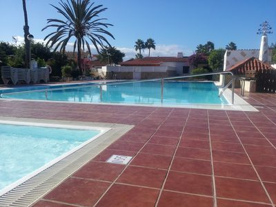 Photo for Bungalow private and nice in complex with pools and near the beach