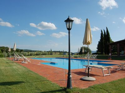 Photo for Between Florence and Arezzo Farm, Hills Flat, Garden, swimming pool, lake