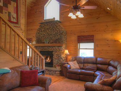 Photo for 2BR Cabin, Near Boone & Blowing Rock, Stone Fireplace, Fire pit in huge yard by creek, Grill