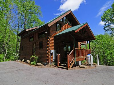 Photo for Privacy Galore In This 3 bedroom / 3 1/2 Bath Log Home Close to Everything