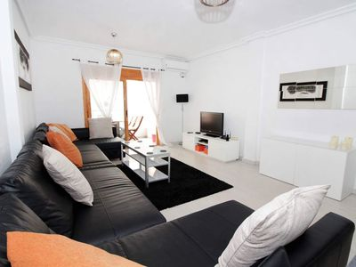 Photo for Beautiful 2 bed 2bathroomapt 20 metres from  beach UK tv Sky Spts/ Movies.