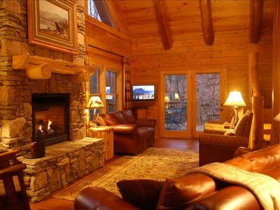 Photo for Deluxe Log Home. Mountain view. Hot Tub. 2 game rms. HDTV. Jacuzzi tub.