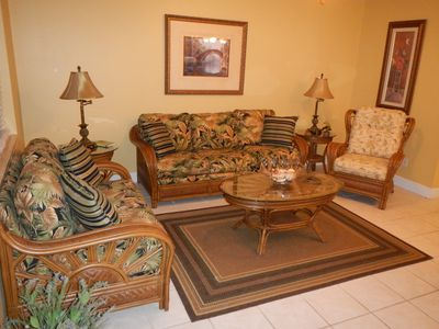Tommy Bahama living room with queen size sleeper