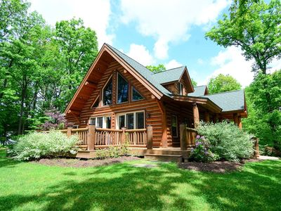 Lake Access home in wooded setting, w/ hot tub, outdoor shower, & game tables!