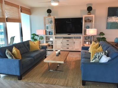 Spacious Living Room with 70 inch TV and BluRay