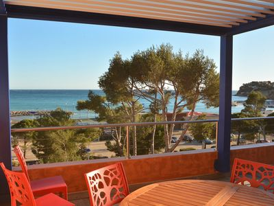 Photo for Sublime sea view, 100 m from the beach, 4 bedrooms, sleeps 8
