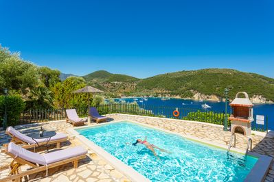 Private pool and terrace with panoramic sea views