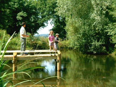 Lake with fishing platform - just a moment from Tincleton Lodge & Rose Cottage