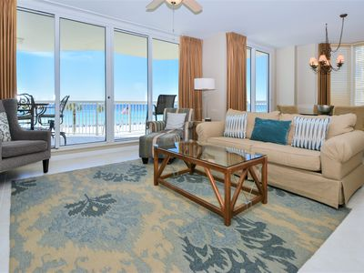 Photo for Updated Beachfront Condo: Extra large balcony with views of resort pool & beach!