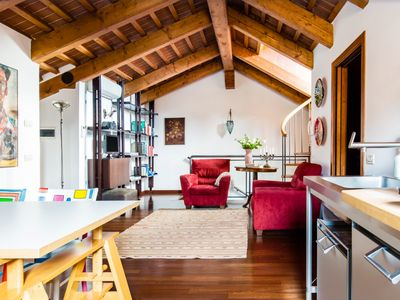 Photo for Canal-Side Attic Apartment with superb view of Madonna del Orto Gothic church