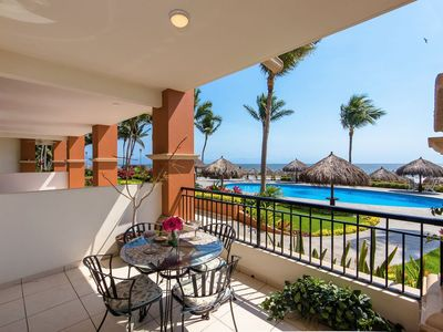 Our deck views the pools, ocean and the beautiful gardens of Tower 5...