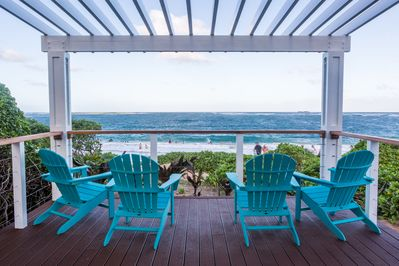 View over looking Hukilau beach from the beautiful backyard private gazebo.