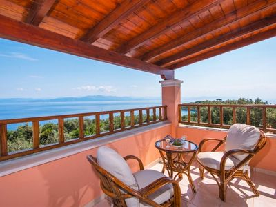 Photo for Villa Nikos - Lovely Villa with Private Pool, Airconditioning, Stunning Views over the Ionian Sea, only 900 Meters to the Beach ! FREE WiFi