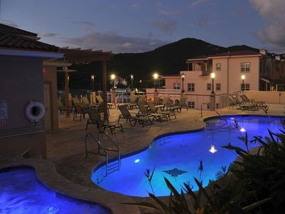 Pool Deck and Jacuzzi at night