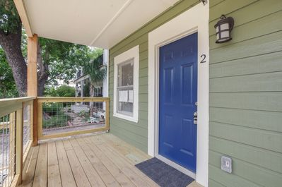 4 steps to a large porch and the front door.  Welcome!!